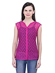FAIRENO Transparent Women's Pink Casual Top