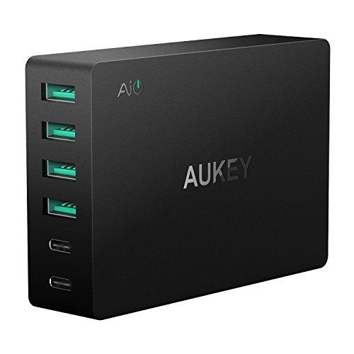 AUKEY-Quick-Charge-30-USB-C-Cargador-de-Red-4-USB-A-con-Tecnologa-AiPower-2-USB-C-con-Tecnologa-Quick-Charge-30-60W-USB-Cargador-para-Samsung-LG-HTC-Nexus-y-otros-Telfono-Inteligentes-y-Tabletas-Inclu