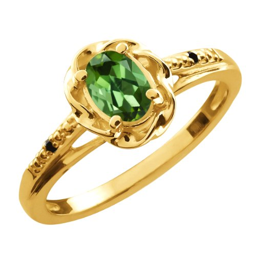 0.41 Ct Oval Green Tourmaline Black Diamond Gold Plated Sterling Silver Ring
