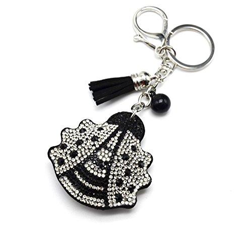 PT976E-Porta-chiavi, gioiello da borsetta, motivo a coccinella, con brillantini, in feltro, misura XXL, colore: argento/nero, fantasia modalità