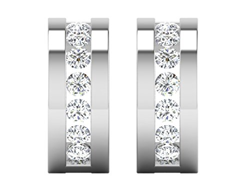 0.56 Cts FullcutDiamond Earrings in Sterling Silver & Real Diamonds