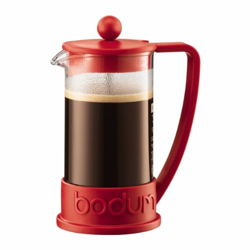 Bodum New Brazil 3-Cup French Press Coffee Maker, .35 l, 12-Ounce, Red