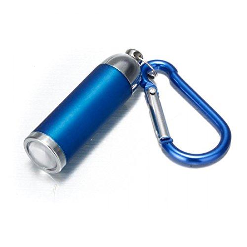 1Pc Marvelous Popular Mini Keychain LED Flashlight Keyring Keyfob Convex Mirror Color Blue