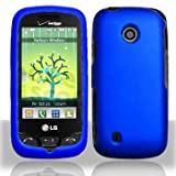 Blue Hard Plastic Rubberized Case Cover for LG VN270 Cosmos Touch