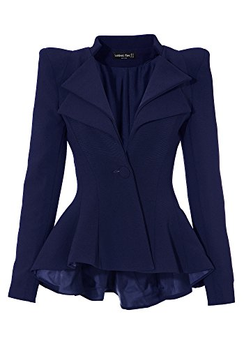 Lookbook Store Women Double Notch Lapel Sharp Shoulder Pad Asymmetry Blazer, Blue US 10 (Blue Store compare prices)