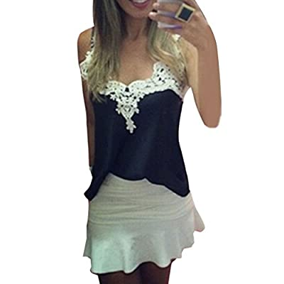 Girls Women White Lace Blouse Tank Top Cami Vest Shirts Tops