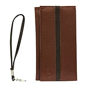 Jo Jo A5 S Seies Leather Wallet Universal Pouch Cover Case For ZTE Blade Vec 3G Light Brown Black