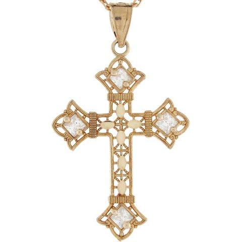 10k Gold Diamond Cut Religious Christian CZ Unique Cross Charm Pendant