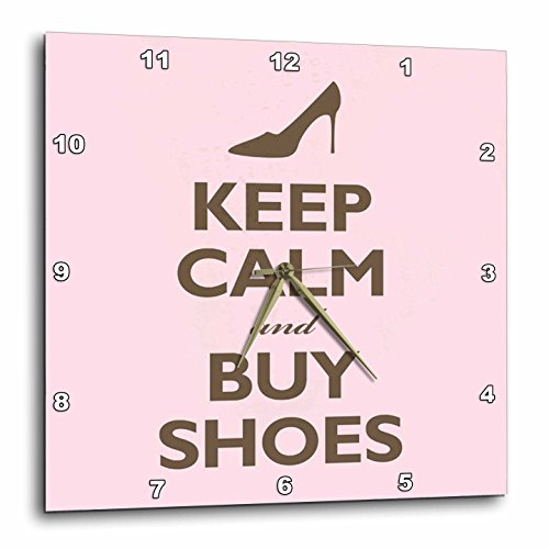 3dRose dpp_159571_1 Keep Calm and Buy Shoes. Pink. Shopping. High Heels-Wall Clock, 10 by 10-Inch (Pictures Of High Heels compare prices)