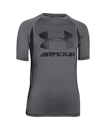 Under Armour Boys' HeatGear Armour Up Digi Fitted Short Sleeve Shirt, Graphite (043), Youth Medium