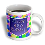 Beverly Turner Birthday Design - Balloons with Purple Banner Happy 46th Birthday - Mugs - 15oz Mug