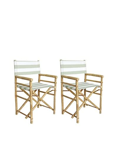 ZEW, Inc. Set of 2 Bamboo Director Chairs, Celadon Stripes
