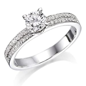 Certified, Round Cut, Solitaire Diamond Ring in 18K Gold / White (3/4 ct, G Color, SI1 Clarity)