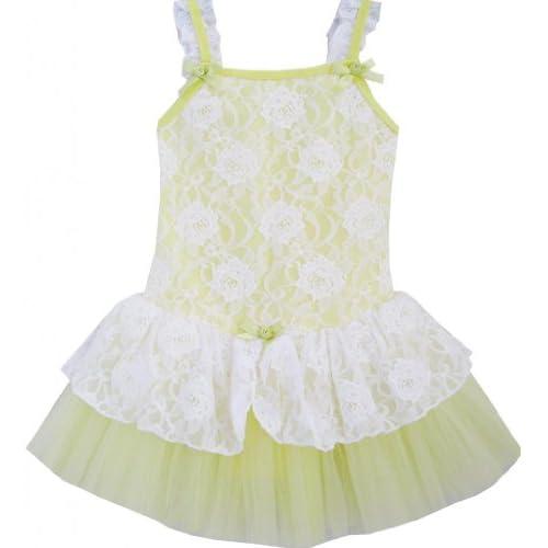 DM42 子供ドレス キッズドレス チュチュドレス 黄色 バレエ ダンス チュール 層 100cm
