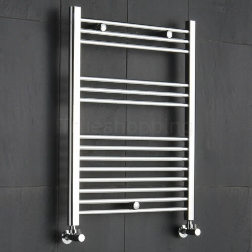 Kudox Premium Chrome Flat Heated Bathroom Towel Radiator Rail 600mm x 800mm