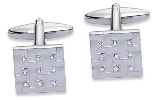 Code Red Base Metal Rhodium Plated Square Cufflinks with Nine Clear Crystal
