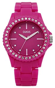 Oasis Women's Quartz Watch with Pink Dial Analogue Display and Pink Plastic Bracelet B1159