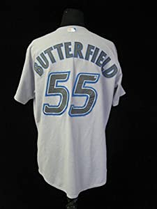 2006 Toronto Blue Jays Brian Butterfield #55 Game Used Gray Road Jersey BLU621 - Game Used MLB Jerseys