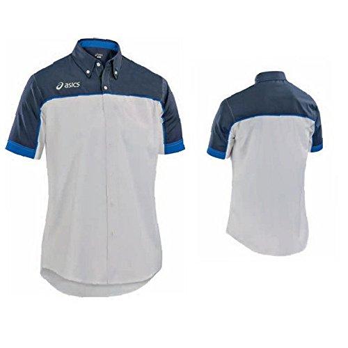 ASICS Polo maniche corte tempo libero uomo con bottoni MOON bianco blu T223Z8