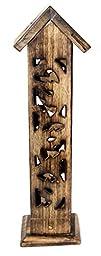 Govinda® Carved Wood Square Tower Incense Burner w/Slide - Out Ash Catcher - Angled Roof Top