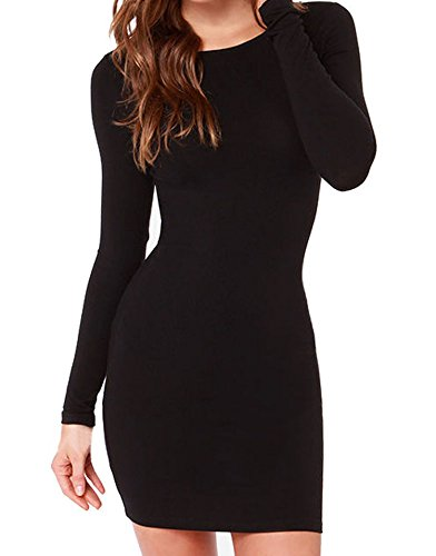 Face N Face Women's Knitting Sexy Casual Long Sleeve Short Dress X-Small Black