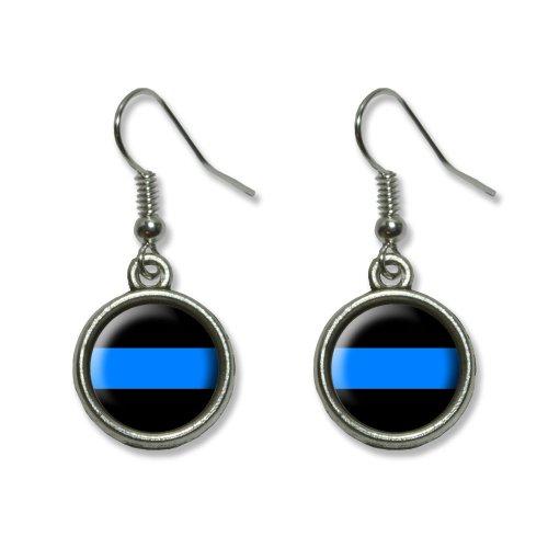 Thin Blue Line Novelty Dangling Dangle Drop Charm Earrings