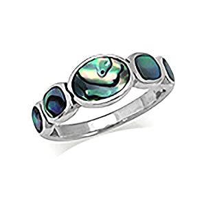 5-Stone Abalone/Paua Shell Inlay 925 Sterling Silver Ring Size 7.5