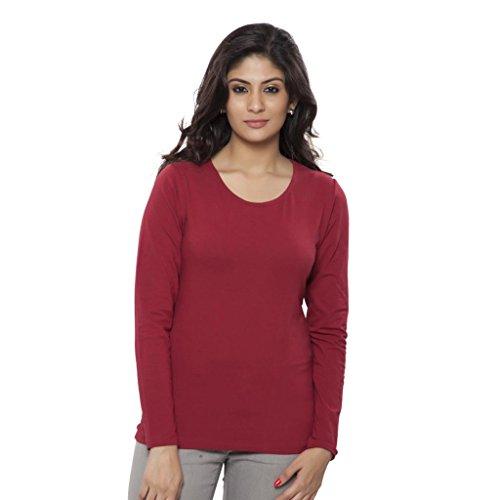 Clifton Women's Basic T Shirt Full Sleeve Round Neck - Maroon - XX-Large