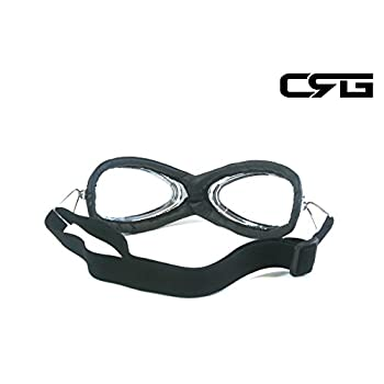 CRG Sports Vintage Aviator Pilot Style Motorcycle Cruiser Scooter Goggle T06 T06SC-1 Transparent lens, black padding