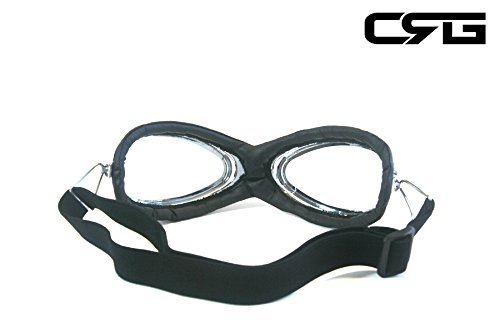 CRG Sports Vintage Aviator Pilot Style Motorcycle Cruiser Scooter Goggle T06 T06SC-1 Transparent lens, black padding 2
