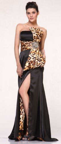 #20120 Leopard Strapless High Slit Satin Pageant Prom Evening Dress