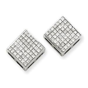 14k White Gold Princess Diamond Screwback Earrings