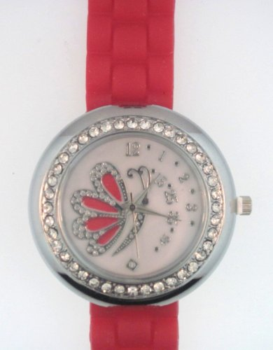 Bright Red Silicone Rubber Watch Link Look Ceramic Style Large Mother-Of-Pearl Butterfly Face Crystal Bezel