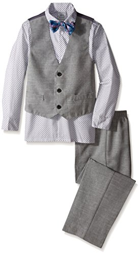 Perry Ellis Little Boys' Slub End-On-End Vest Set, White, 5