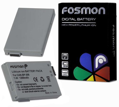 Fosmon BP-208 1200mAh Replacement Battery Pack for Canon DC20, DC22, DC40, DC50 DVD, DC100, DC210, DC220, DC230, Elura 100, Optura S1, VIXIA HR10 DVD (Dc100 Battery compare prices)
