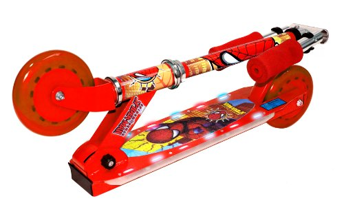 Learn More About Spiderman 2 Wheel Street Flyers Folding Scooter with Flashing Lights (Red)