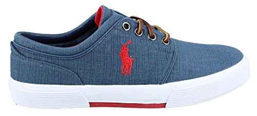 Polo Ralph Lauren Men'S Faxon Low Ripstop Sneaker,Navy/Red,11 D Us