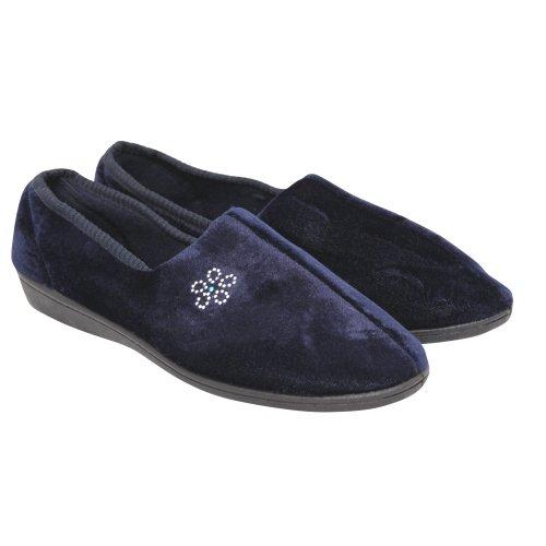 Cheap Womens/Ladies Diamante Flower Design Indoor Footwear/Slippers with Velcro Strap (B009BFOC40)