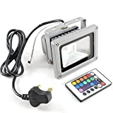 TechCode 10W LED RGB 900LM 16 COLOR CHANGING Waterproof SPOTLIGHT Flood Light Garden Lamp Floodlight Outdoor Indoor w/ IR Remote Control + AC Adaptor New with EPISTAR led chip (10w RGB + Remote)