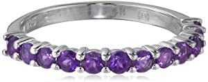 Sterling Silver Amethyst Semi-Eternity Ring, Size 5