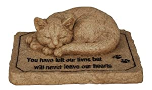Vivid Arts Never Leave Our Hearts Sleeping Cat Remembrance Statue in Natural Stone