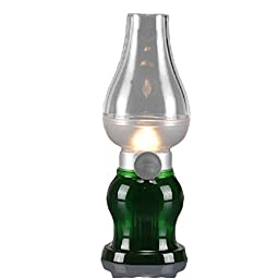 WAYCOM® Rechargeable Dimmable Blow Control LED Lamp / Classic Kerosene Lamp Design / USB Powered LED Table Light Brightness Adjustable (Green)