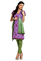 Parchayee Women's Purple Printed Cotton Dress Material