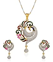 Youbella Multicolor Metal Cz Peacock Pendant Set With Chain For Women & Girls