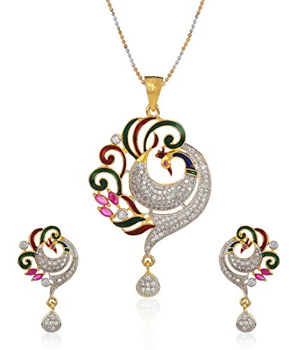 YouBella CZ Designer Peacock Pendant Set with Chain