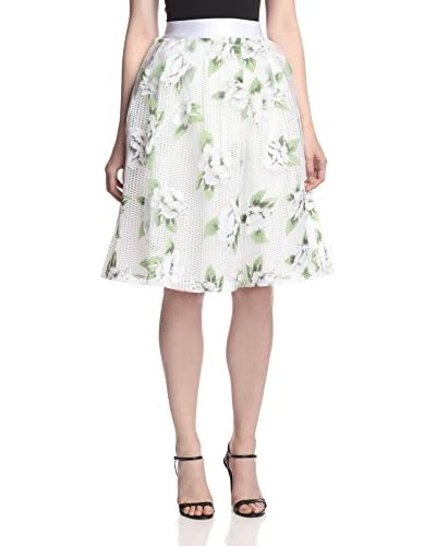Gracia Women's Flower Print Mesh Skirt