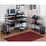 Ameriwood Metal Frame Computer Desk with Bookcase in Black and Silver