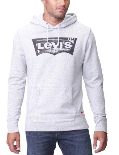 Levi's New Pull Over Hood Men's Sweatshirt Medium Grey Heather/Black Batwing X Large