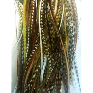"4""-6"" in Length Natural Mix Feathers for Hair Extensions Bunched Together Salon Quality Feathers! 5 Feathers"
