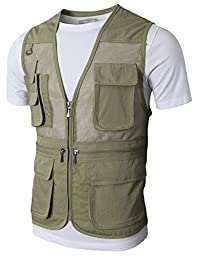 H2H Mens Fashion Work Utility Hunting Travels Sports Mesh Vest With Pockets BEIGE US L/Asia XL (KMOV0118)